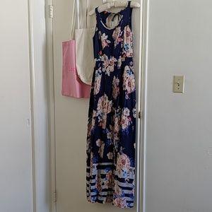LC Lauren Conrad floral pleated maxi dress